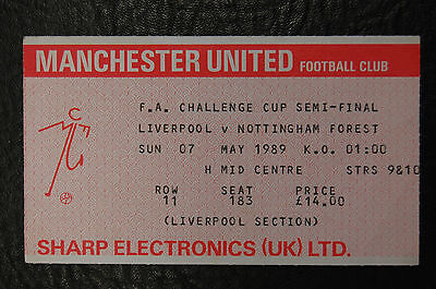 Ticket 1989 Fa Cup Semi/final  Liverpool V Nottingham Forest - Replayed Match