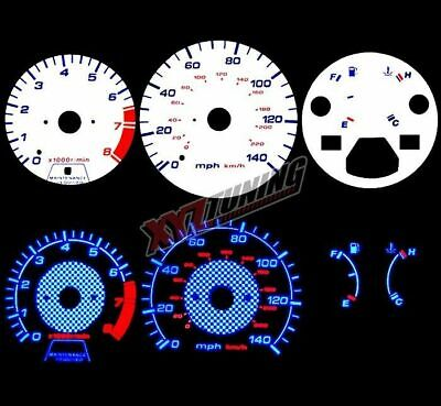 BLUE Reverse El Indiglo Glow White Gauge Dash Face For 90-93 Accord MT All Model