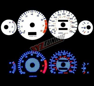 BLUE Reverse El Indiglo Glow White Gauge Face For 93-97 Corolla 1.6L/1.8L I4 All