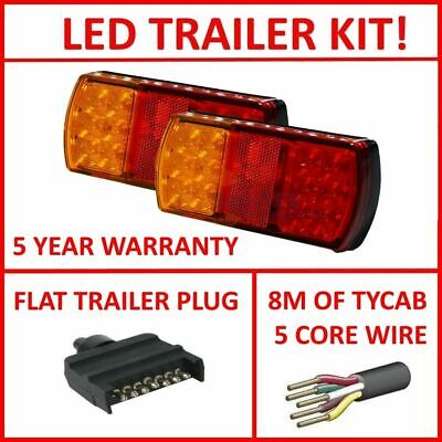 Pair Of Led Trailer Lights, 1 X Flat Plug, 8M X 5 Core Wire Kit Complete Light