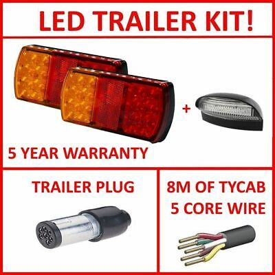 Pair Of Led Trailer Lights, 1 X Srm Plug, 1 X Npl, 8M X 5 Core Wire Kit Light