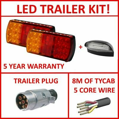 Pair Of Led Trailer Lights, 1 X Lrm Plug, 1 X Npl, 8M X 5 Core Wire Kit Light