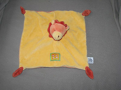 """Moulin Roty Lion Baby Security Blanket Les Loustic Lovey Orange Yellow 10""""x10"""""""
