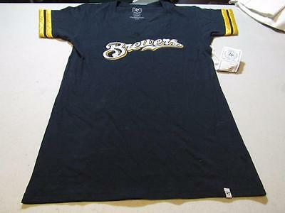 NWT WOMENS 47 Brand Forty Seven Milwaukee Brewers Tee Shirt X Large  12577