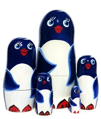 Penguins 5 Pc Blue Russian Nesting Doll. Blue Hand Painted Wooden Stacking Toy