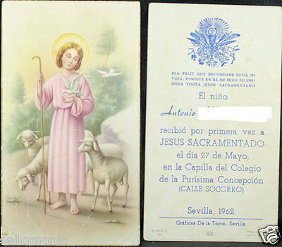 Old First Communion Remembrance Holy Card Year 1962 Andachtsbild Santini  Cc1061