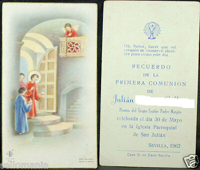 Old First Communion Remembrance Holy Card Year 1962 Andachtsbild Santini  Cc1062