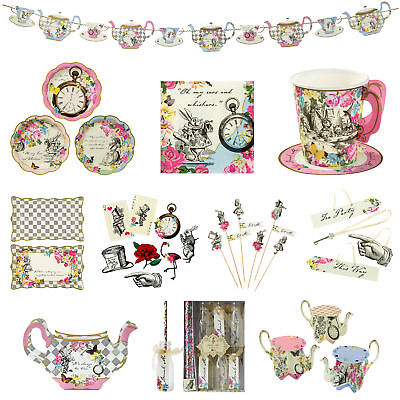 150 Item Set Vintage Party Alice in Wonderland Tableware & Decorations Bundle