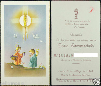 Old First Communion Remembrance Holy Card Year 1959 Andachtsbild Santini  Cc1086