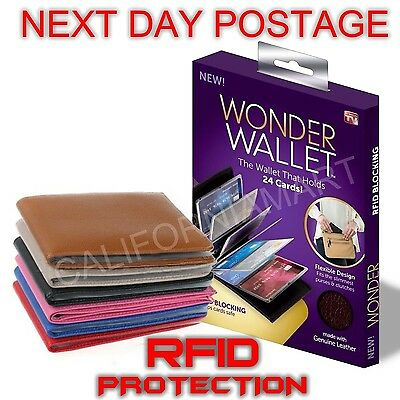 Genuine Wonder Wallet Slim RFID Wallet As Seen on TV PU Leather 24 Cards Unisex