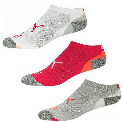 New 2016 Puma Women's Pounce Low Cut Socks COLOR: White/Pink/Grey 3-Pair Pack