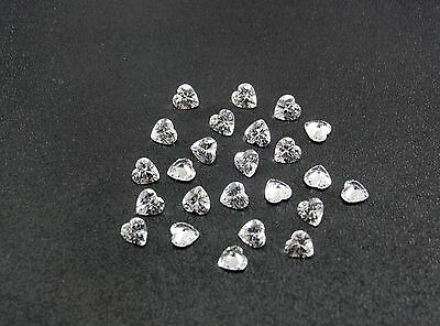 White CZ Heart Shape Stones SIZE CHOICE Cubic Zirconia Loose Gemstones