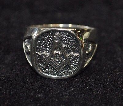 Solid Sterling Silver Masonic Ring,   Pick Your Size