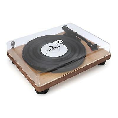 Retro Turntable Vinyl Record Player Vintage Speaker LP Compact Audio Wood Venner