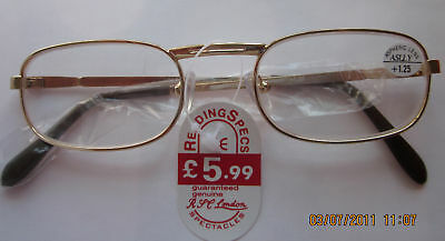 Classical Reading Glasses / Spectacles Half Eye Gold In All (10) Strengths U82