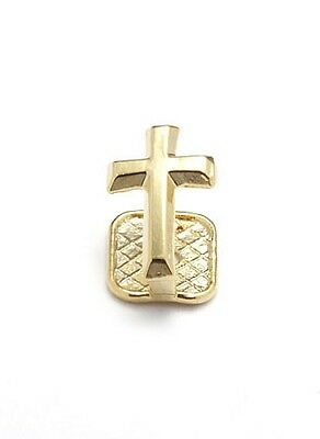 Single Grillz Cross on Tooth hiphop bling Gold plated Tooth Clip