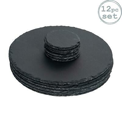 Round Natural Slate Placemat Set - 6 Drinks Coasters & 6 Placemats