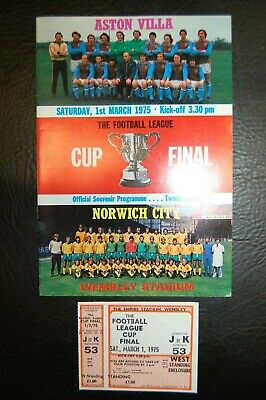 Unused Ticket 1975 League Cup Final Aston Villa V Norwich City Mint