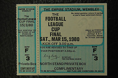 Unused Ticket 1980 League Cup Final Nottingham Forest V Wolves Mint