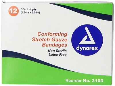 "6 Pack Dynarex Conforming Stretch Gauze Bandages #3103 3""x4.1YD 12 Count Ea"