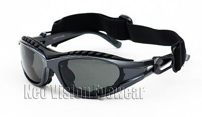 Shatterproof Foam Padded Motorcycle Glasses Sun Goggles Smoke Frame Gray 453