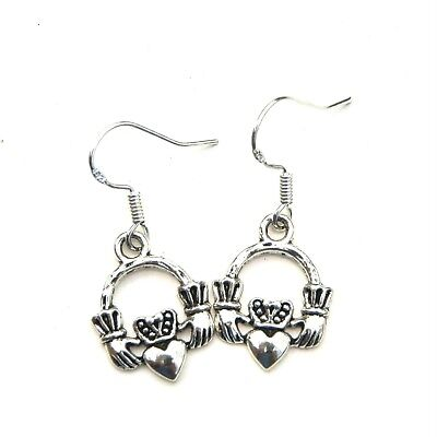 Antique Silver Claddagh Dangle Earrings + Sterling Silver Stamped Hooks