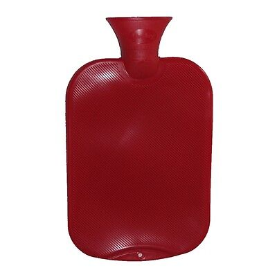 Fashy Classic Single-Ribbed Hot Water Bottle - Cranberry 2L Water Bottle
