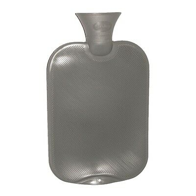 Fashy Classic Single-Ribbed Hot Water Bottle - Gray 2L Water Bottle