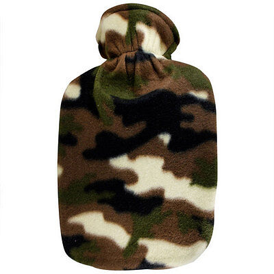 Fashy Hot Water Bottle with Camo Fleece Plushie Cover 2L Water Bottle