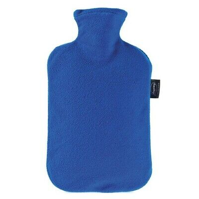 Fashy Hot Water Bottle with Royal Blue Fleece Plushie Cover 2L Water Bottle