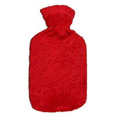 Fashy Hot Water Bottle with Ruby Paisley Fuzzy Cover 2L Water Bottle