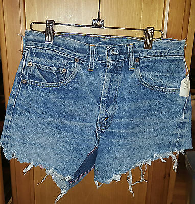 "Denim Cut-Off Shorts With Patchwork Size 28"" Waist"