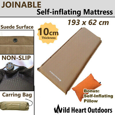 10cm SELF INFLATING MATTRESS+Pillow Thick Suede Inflatable Joinable Camping Outd