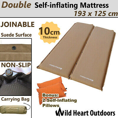 Double 10cm SELF INFLATING MATTRESS Thick Suede plus Pillow Inflatable Camping