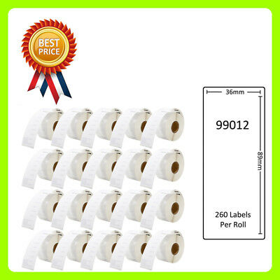 20 Rolls 99012 Labels Compatible for Dymo/Seiko 36 x 89mm 260 labels per roll