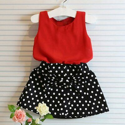 2PCS Lovely Toddler Kids Baby Girls Clothes T-shirt Tops+Skirts Outfit Set 2-7T