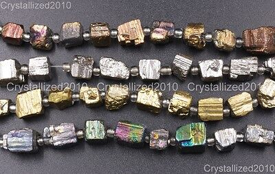 Natural Iron Pyrite Gemstone Cutting Freeformed 6mm - 8mm Nugget Spacer Beads 8""