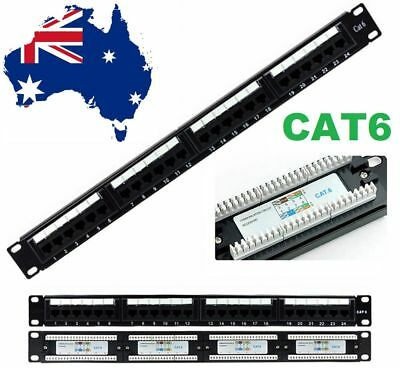 "19"" (19 inch) 24 Port Patch Panel 1U for CAT6/CAT-6 Network Brand New"