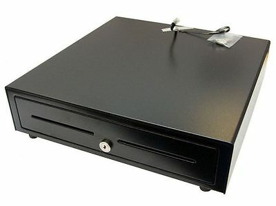 Large Black Electronic Cash Draw/Drawer Note/Cash Money Slots=5, Coin Holders=8