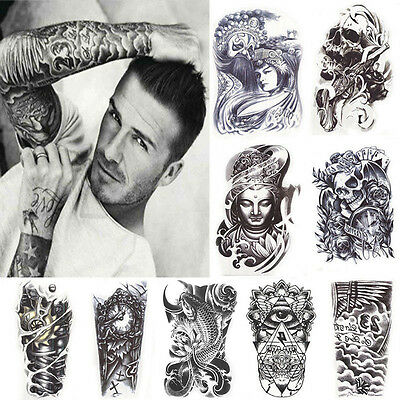 Cool Men's Black Tattoo Skull Temporary Body Arm Stickers Removable Waterproof