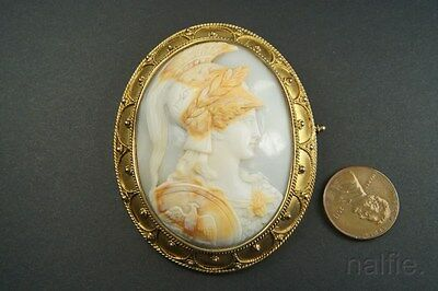ANTIQUE SILVER GILT FINELY CARVED SHELL ATHENA / MINERVA CAMEO BROOCH c1870