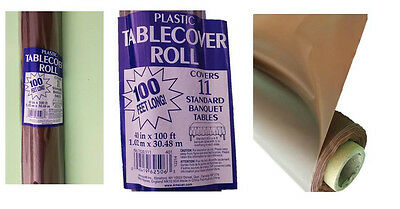 Plastic Chocolate Brown 100ft Banquet Roll Table Cloth