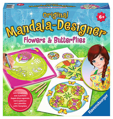 Ravensburger 29809 - Flowers and Butterflies, 2 in 1 - Mandala Designer Midi