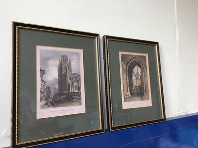 PAIR of antique hand coloured engravings, gallery framed & glazed BRISTOL SCENES