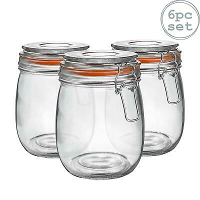 Glass Storage / Food Preserve Preserving Clip Top Jar - 750ml - x6