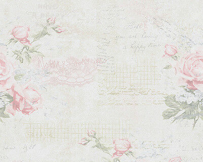 Shabby Chic Pink Rose Vintage Writing Floral Wallpaper