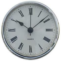 85mm Clock Suitable for Caravans, Motorhomes & Boats, Roman with silver bezel.