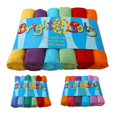 Bright Bots 6PK Baby Muslin Squares Cloths 70cm 100% Pure Soft Cotton - Various