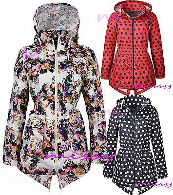 NEW Girls Raincoat Mac Girl Cagoule Floral Shower Proof Jacket Age 7 - 13 YearsF