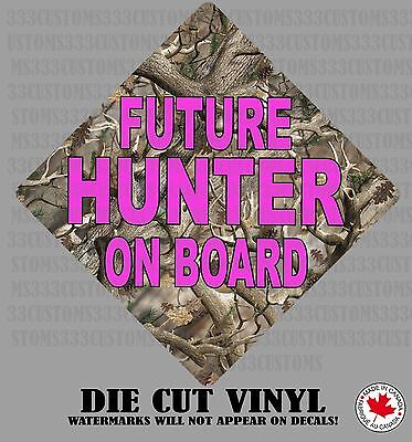 Camo Future Hunter On Board GIRL Baby on board car decal mossy oak real tree 02